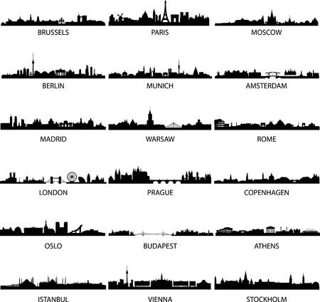 silueta: dactilar de diferentes ciudades europeas  Vectores