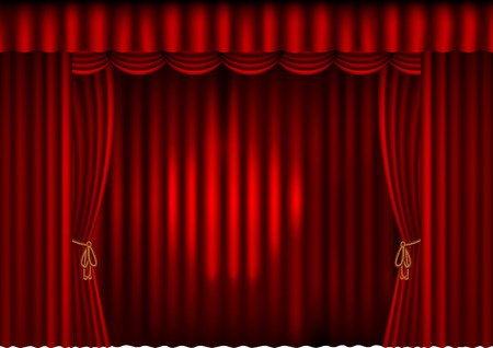 illustration of a red curtain Vector
