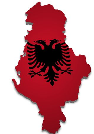 3D outline of Albania with flag photo