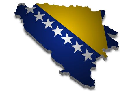 3D outline of Bosnia Herzegovina with flag photo