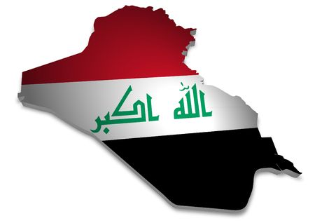 iraq: 3D outline of Iraq with flag Stock Photo