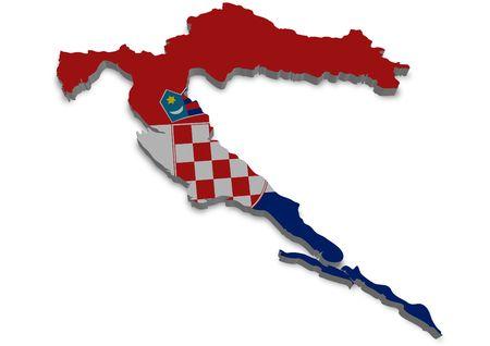 bandera croacia: Contorno 3D de Croacia con la bandera
