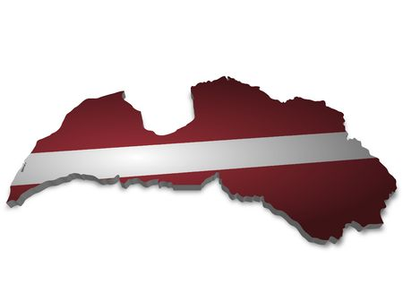 3D outline of Latvia with flag photo