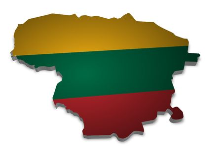 3D outline of Lithuania with flag photo