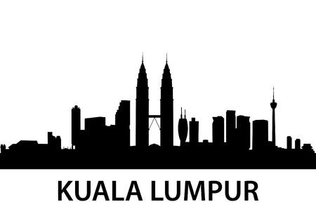 scape: detailed illustration of Kuala Lumpur, Malaysia