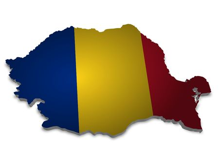 romania: 3D outline of Romania with flag