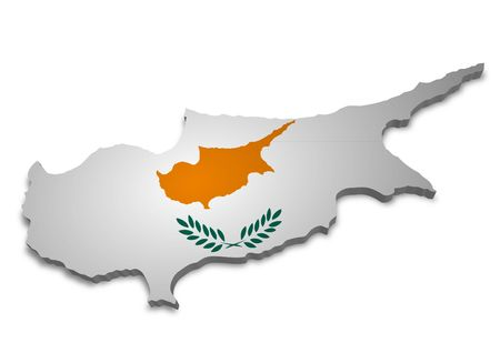 cyprus: 3D outline of Cyprus with flag