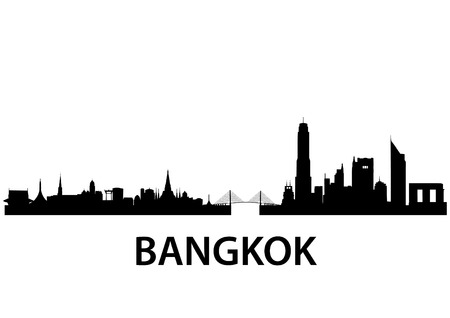 thai buddha: detailed vector skyline of Bangkok