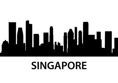 detailed vector skyline of Singapore Vector