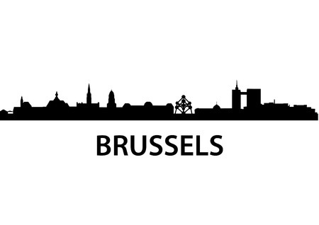 detailed vector skyline of Brussels