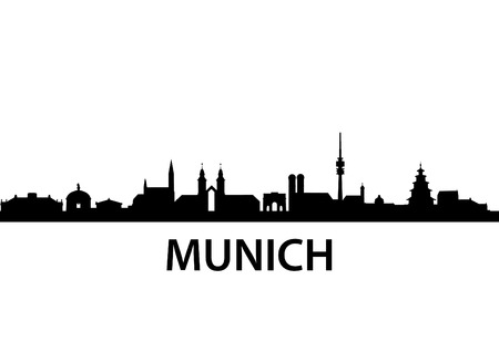 detailed vector skyline of Munich
