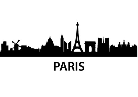 detailed vector skyline of Paris