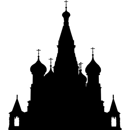 russian church: vector outline of St. Basils Church, Moscow