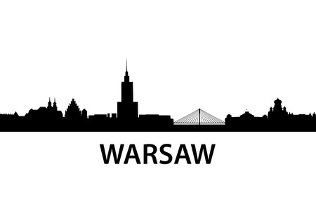 european culture: detailed vector skyline of Warsaw