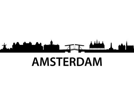 the netherlands: gedetailleerde vector skyline van Amsterdam Stock Illustratie