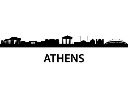 hellenic: detailed vector skyline of Athens