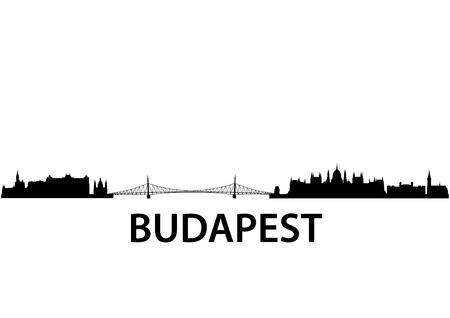 hungarian: detailed vector skyline of Budapest