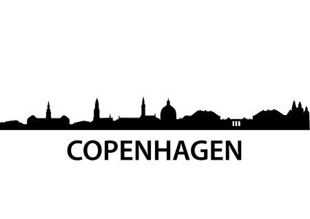 gedetailleerde vector skyline van Kopenhagen
