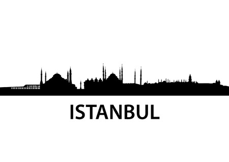detailed vector skyline of Istanbul Stock Vector - 7950601