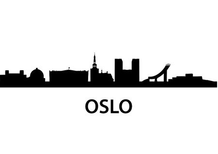 houses of parliament: detailed vector skyline of Oslo