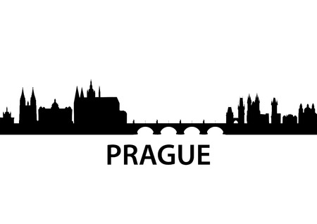 czech culture: detailed vector skyline of Prague