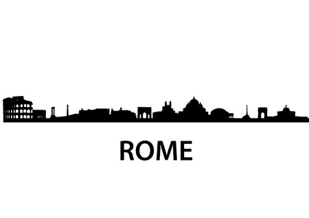 italy landscape: detailed vector skyline of Rome
