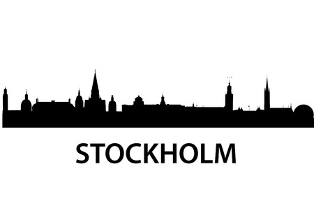 detailed vector skyline of Stockholm