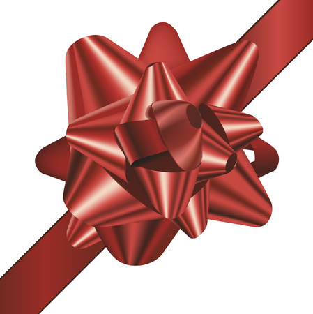red bow: detailed vector illustration of a gift bow