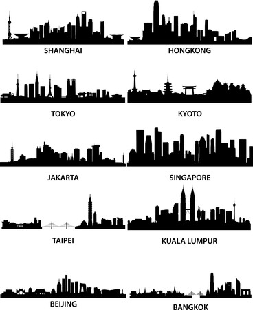 beijing: detailed vector illustration of different asian cities