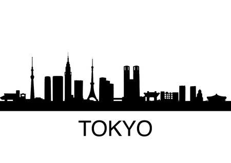 corporate buildings: detailed illustration of Tokyo, Japan