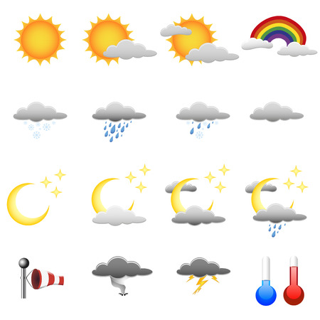 set of detailed weather symbols Stock Vector - 7950612