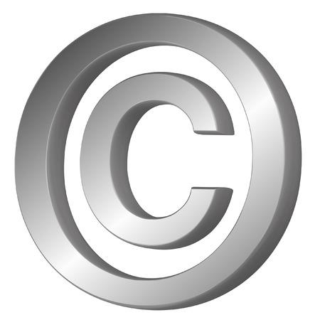 3D-vector illustratie van het copyright symbool