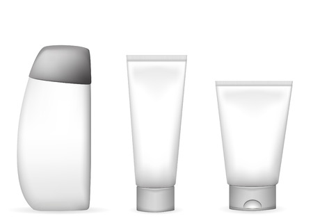 creme: vector illustration of different lotion and shampoo tubes