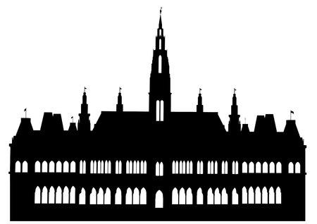 hall: detailed illustration of the Vienna City Hall