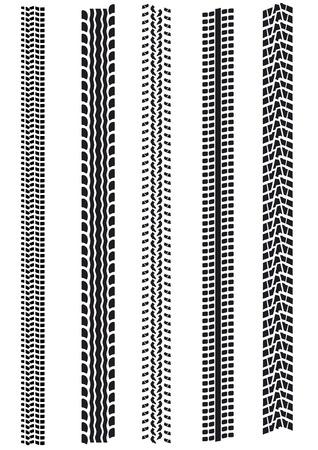 illustrazione di diversi tipi di tracce di pneumatico