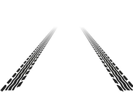 huellas de neumaticos: pistas de neum�ticos con perspectiva  Vectores