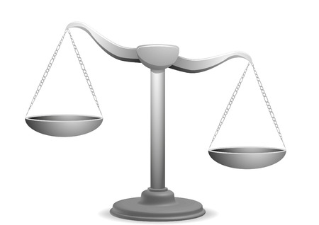 tribunal: vector illustration of  a unbalanced balance Illustration