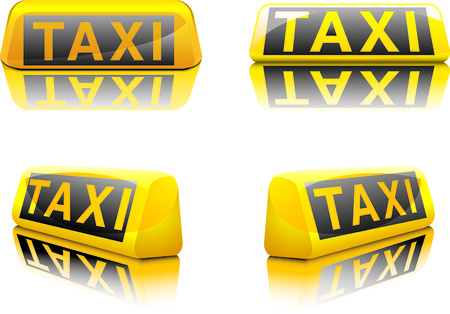fare: vector illustration of german taxi signs in different angles