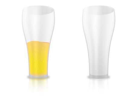 detailed vector illustration of a glass filled with beer and an empty one illustration