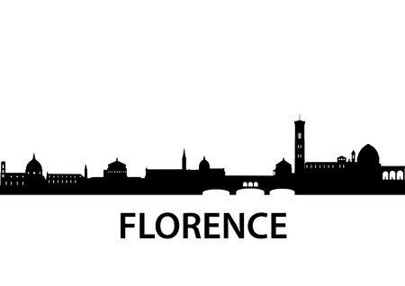 florence: silhouette of Florence, Italy