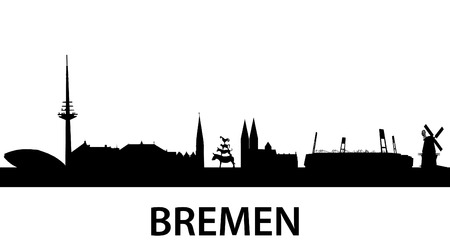 detailed silhouette of Bremen, Germany Vector