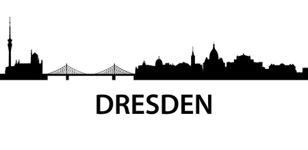 in the reconstruction: detailed silhouette of Dresden, Germany Illustration