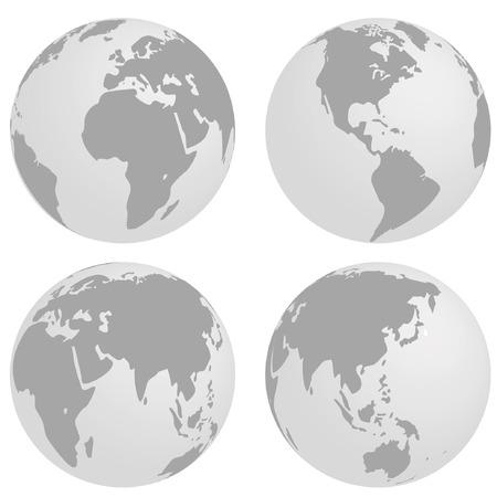 south east asia: illustrazione vettoriale di un globo con diverse angolazioni