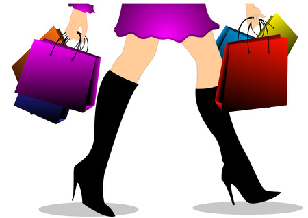 illustration of girl with shopping bags Vector