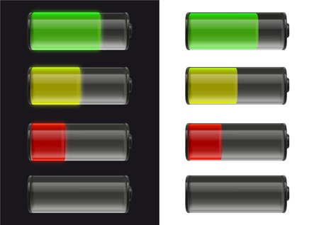 illustrations of batteries with fuel status on black and white illustration