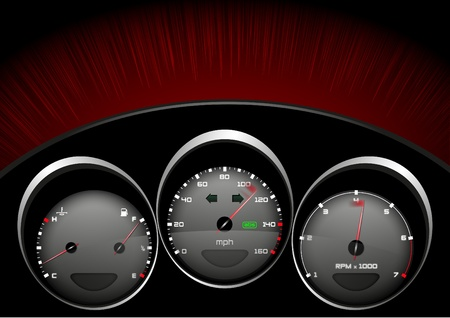 miles: Detailed illustration of a car dashboad Stock Photo