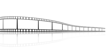 film industry: illustration of a film strip with reflection