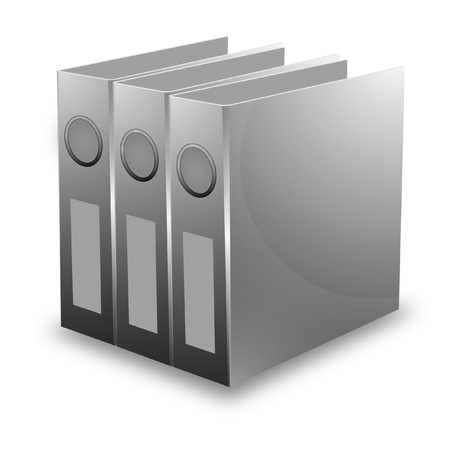 archiving: illustration of a row of folders for archiving Stock Photo