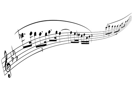 black piano: illustration of a transformed melody strip Illustration
