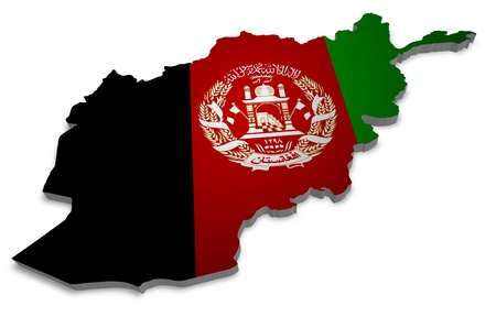 afghan: 3D outline of Afghanistan with flag